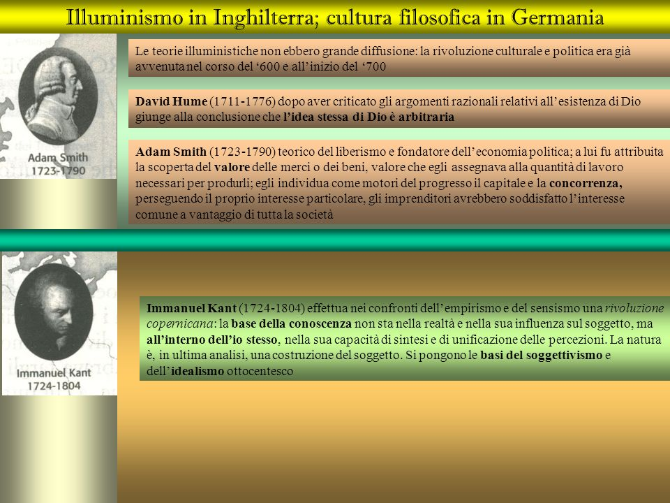 Illuminismo in Inghilterra; cultura filosofica in Germania