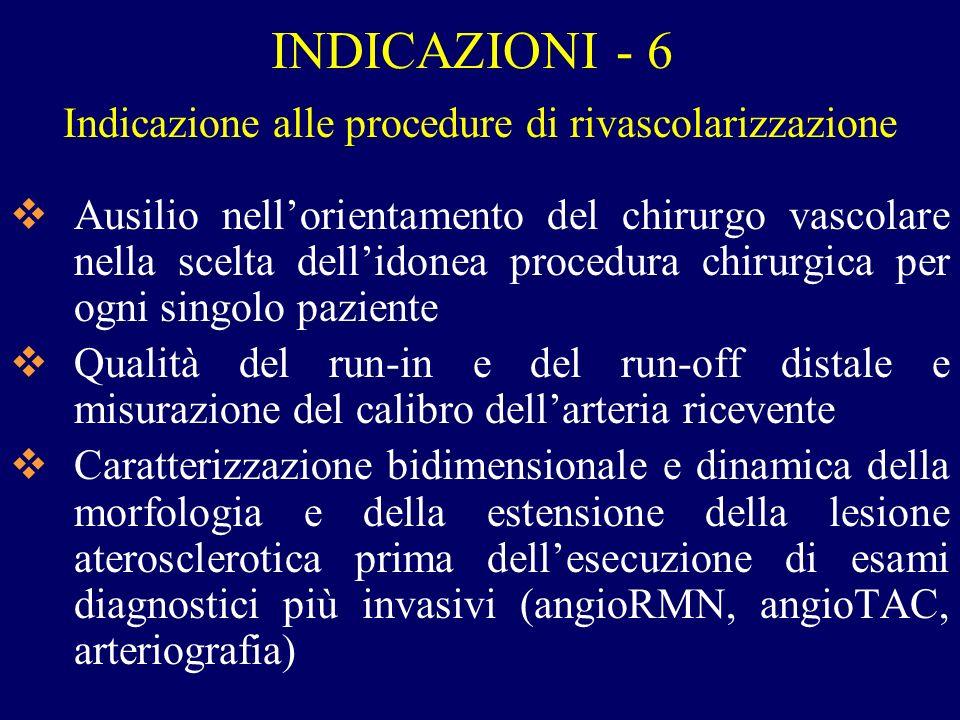Indicazione alle procedure di rivascolarizzazione