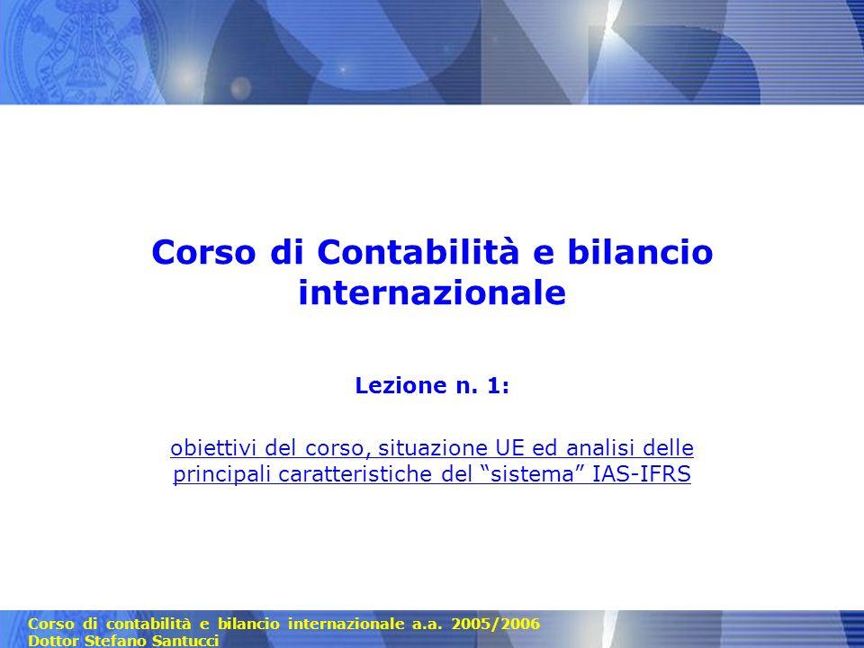 Corso di Contabilità e bilancio internazionale