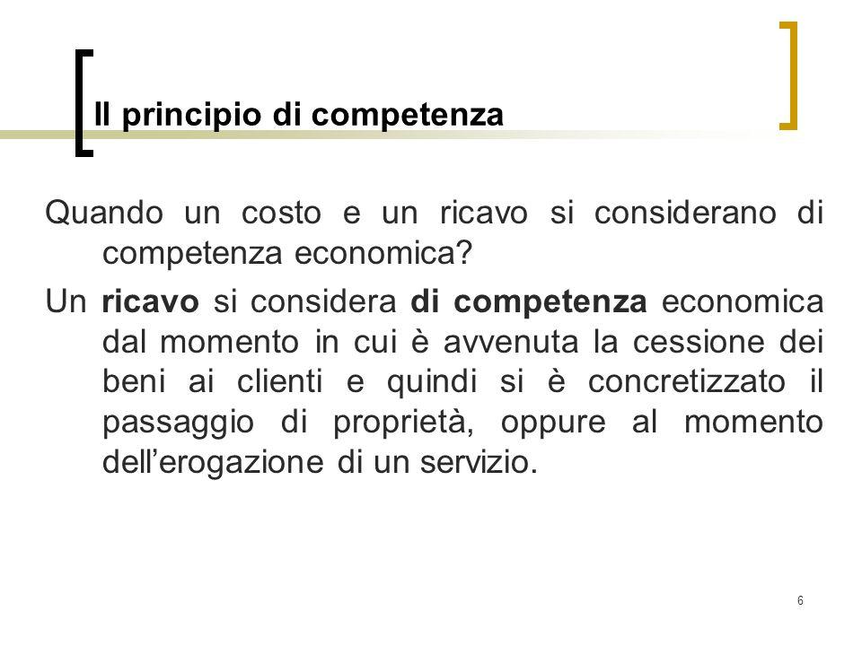 Il principio di competenza