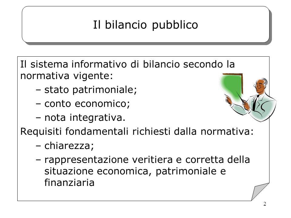 Il bilancio pubblico Il sistema informativo di bilancio secondo la normativa vigente: stato patrimoniale;