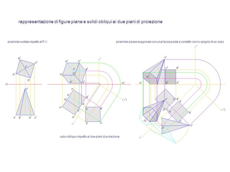 rappresentazione di figure piane e solidi obliqui ai due piani di proiezione
