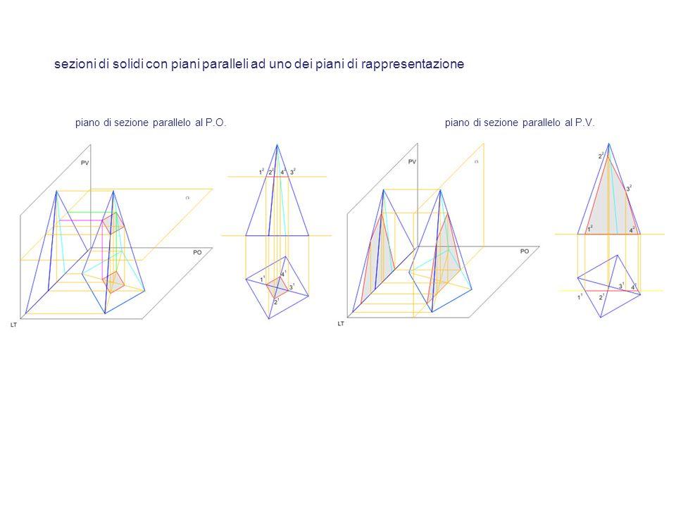 sezioni di solidi con piani paralleli ad uno dei piani di rappresentazione
