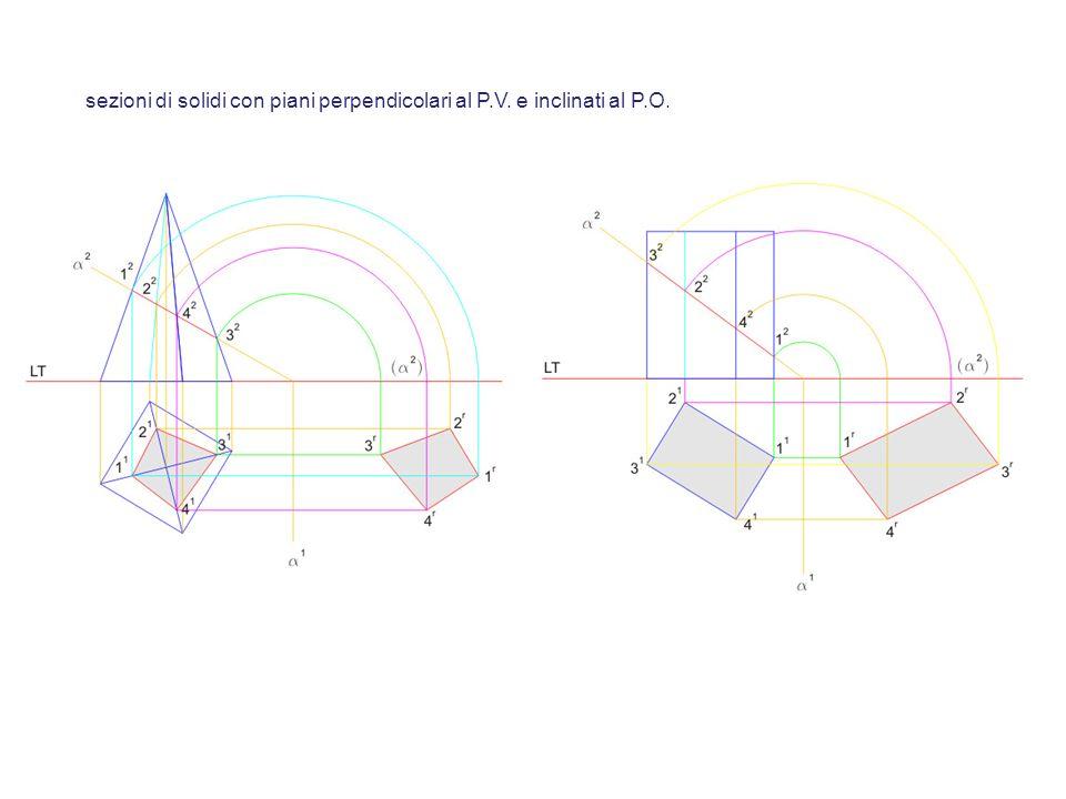 sezioni di solidi con piani perpendicolari al P.V. e inclinati al P.O.