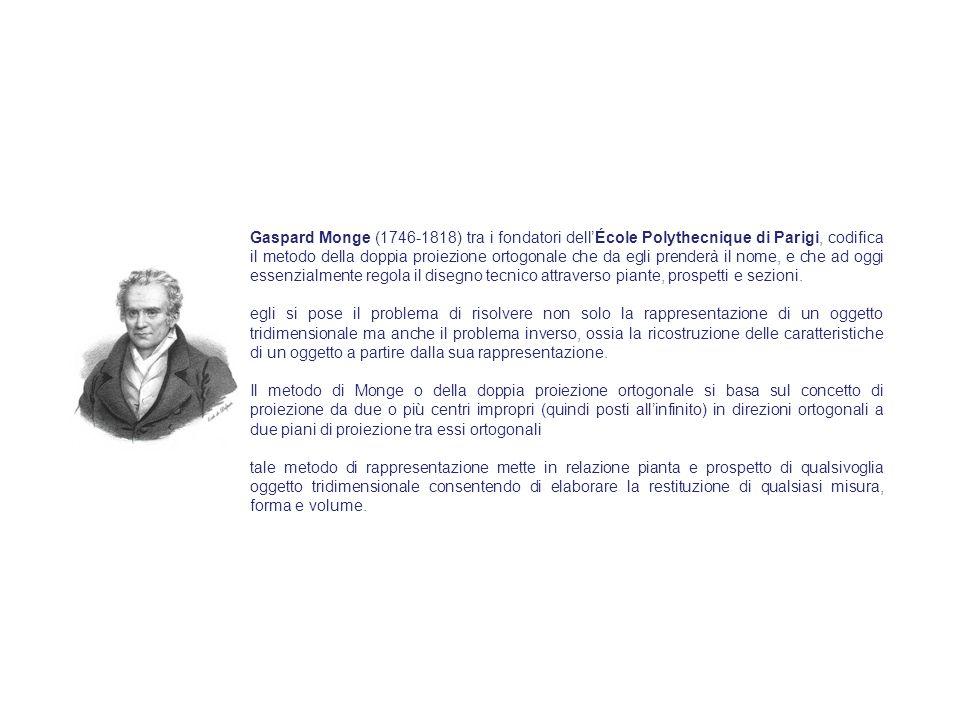 Gaspard Monge (1746-1818) tra i fondatori dell'École Polythecnique di Parigi, codifica il metodo della doppia proiezione ortogonale che da egli prenderà il nome, e che ad oggi essenzialmente regola il disegno tecnico attraverso piante, prospetti e sezioni.