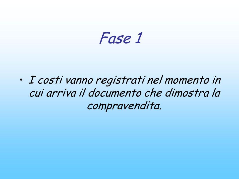 Fase 1 I costi vanno registrati nel momento in cui arriva il documento che dimostra la compravendita.