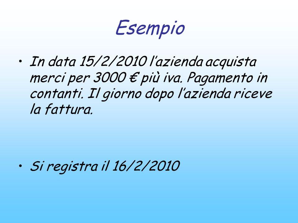 Esempio In data 15/2/2010 l'azienda acquista merci per 3000 € più iva. Pagamento in contanti. Il giorno dopo l'azienda riceve la fattura.
