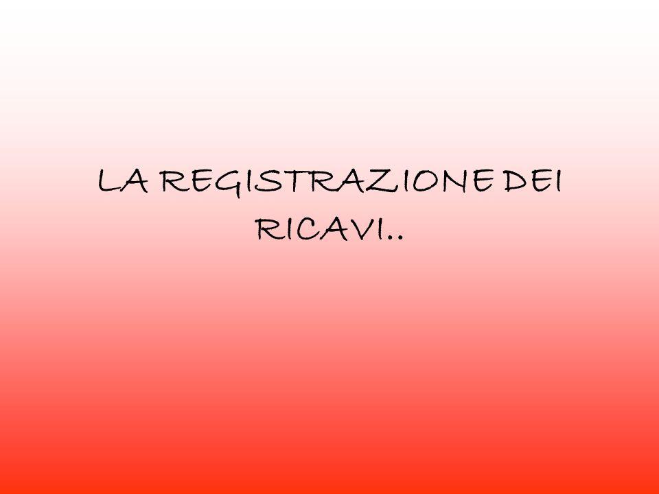 LA REGISTRAZIONE DEI RICAVI..