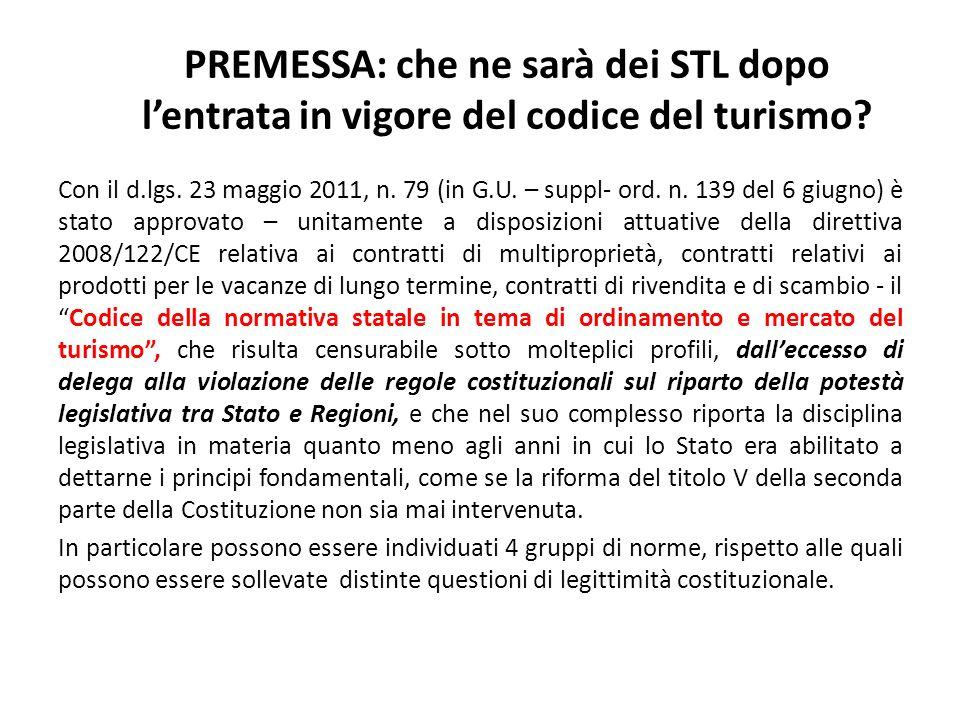 PREMESSA: che ne sarà dei STL dopo l'entrata in vigore del codice del turismo