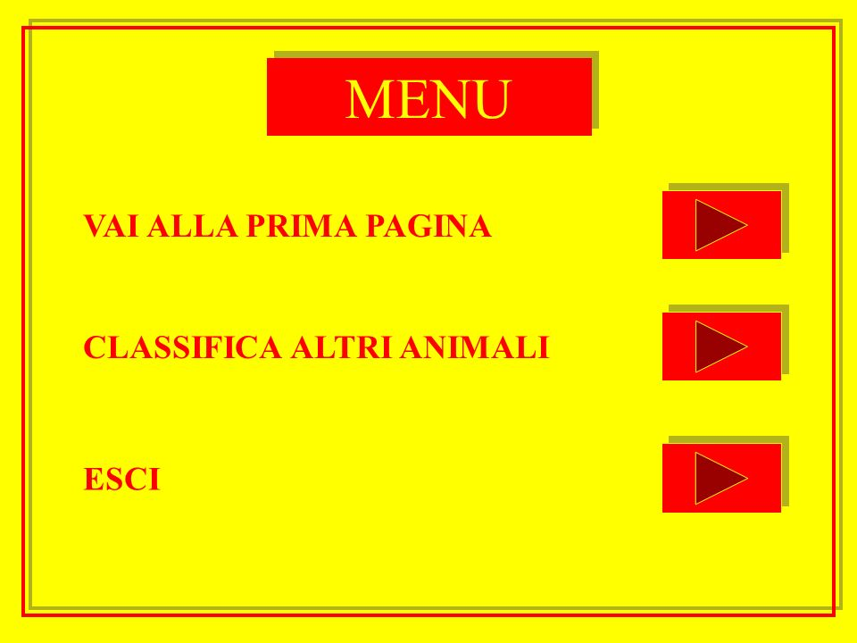 MENU VAI ALLA PRIMA PAGINA CLASSIFICA ALTRI ANIMALI ESCI