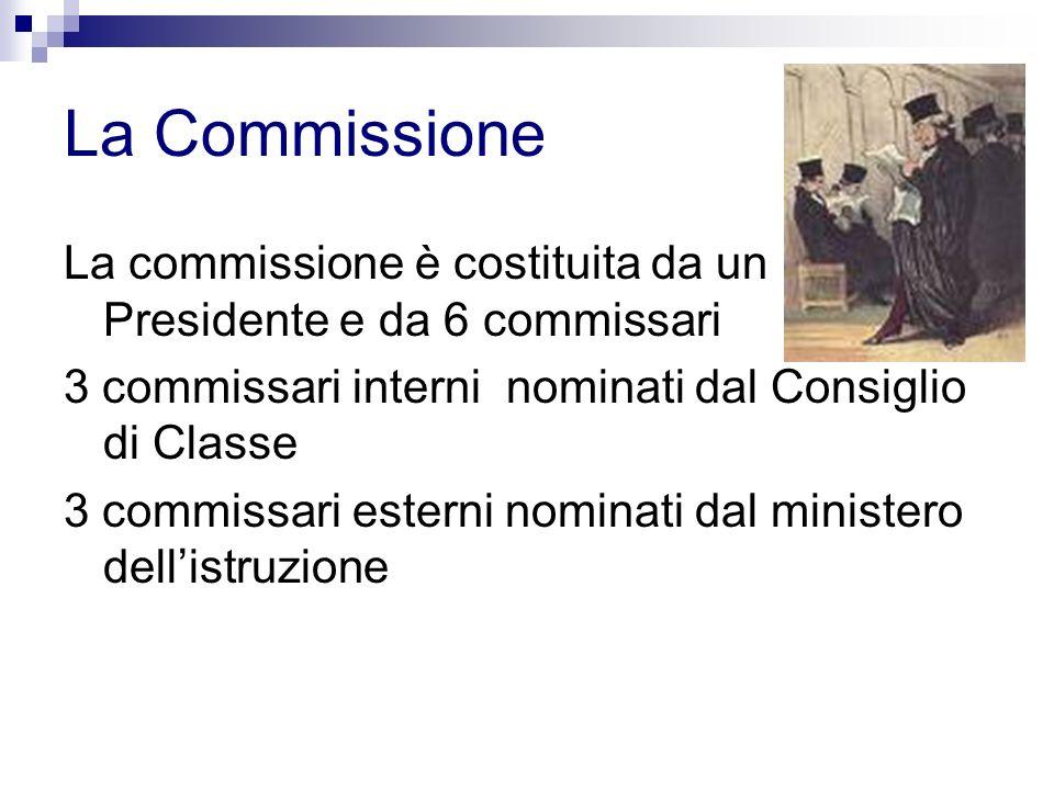 La Commissione La commissione è costituita da un Presidente e da 6 commissari. 3 commissari interni nominati dal Consiglio di Classe.