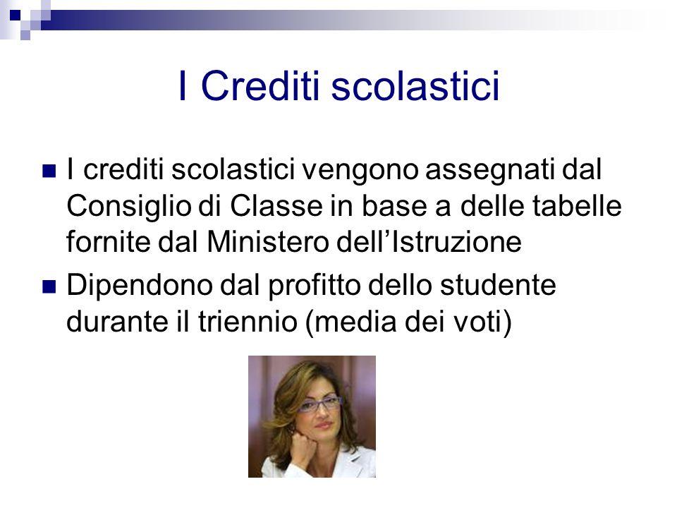 I Crediti scolastici I crediti scolastici vengono assegnati dal Consiglio di Classe in base a delle tabelle fornite dal Ministero dell'Istruzione.