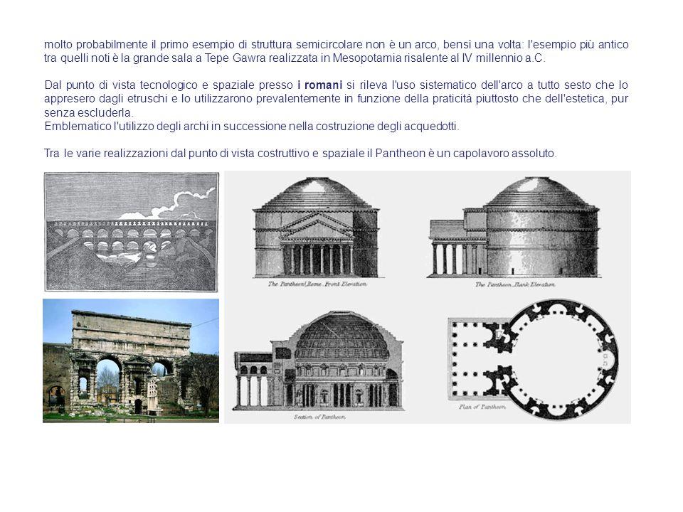 molto probabilmente il primo esempio di struttura semicircolare non è un arco, bensì una volta: l esempio più antico tra quelli noti è la grande sala a Tepe Gawra realizzata in Mesopotamia risalente al IV millennio a.C.