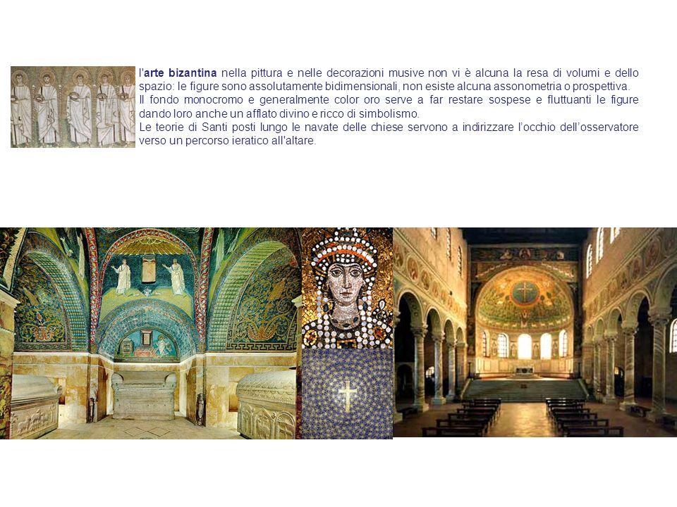 l arte bizantina nella pittura e nelle decorazioni musive non vi è alcuna la resa di volumi e dello spazio: le figure sono assolutamente bidimensionali, non esiste alcuna assonometria o prospettiva.