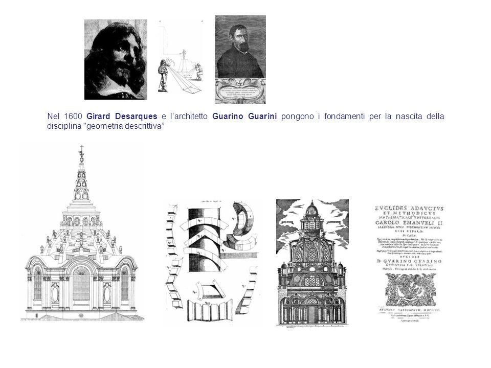 Nel 1600 Girard Desarques e l'architetto Guarino Guarini pongono i fondamenti per la nascita della disciplina geometria descrittiva