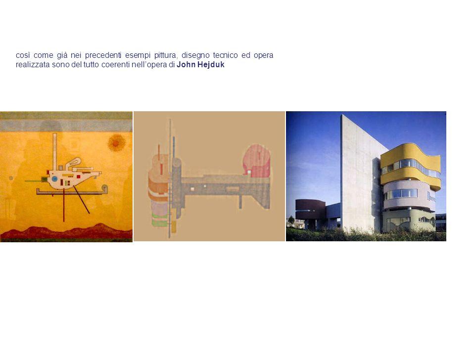 così come già nei precedenti esempi pittura, disegno tecnico ed opera realizzata sono del tutto coerenti nell'opera di John Hejduk