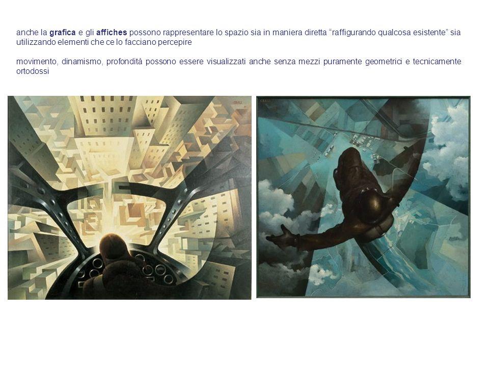 anche la grafica e gli affiches possono rappresentare lo spazio sia in maniera diretta raffigurando qualcosa esistente sia utilizzando elementi che ce lo facciano percepire