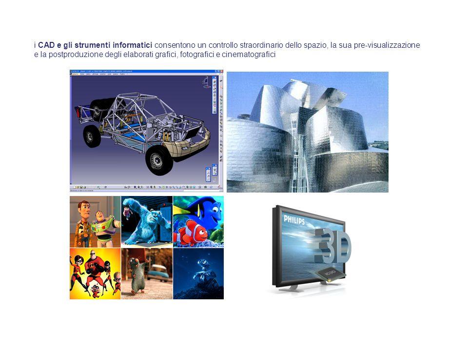i CAD e gli strumenti informatici consentono un controllo straordinario dello spazio, la sua pre-visualizzazione e la postproduzione degli elaborati grafici, fotografici e cinematografici
