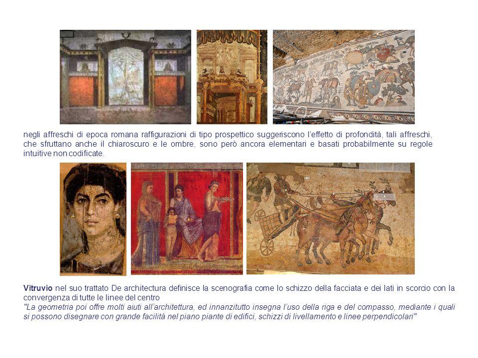 negli affreschi di epoca romana raffigurazioni di tipo prospettico suggeriscono l'effetto di profondità, tali affreschi, che sfruttano anche il chiaroscuro e le ombre, sono però ancora elementari e basati probabilmente su regole intuitive non codificate.