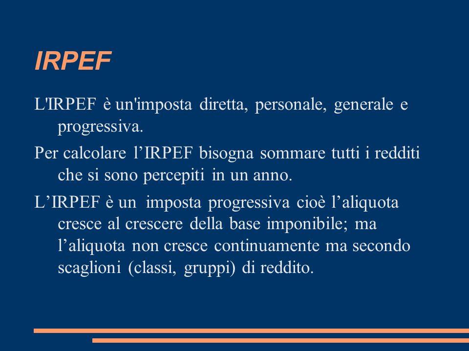 IRPEF L IRPEF è un imposta diretta, personale, generale e progressiva.