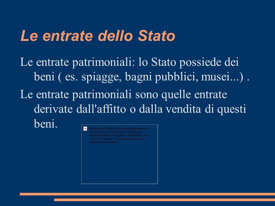 Le entrate dello Stato Le entrate patrimoniali: lo Stato possiede dei beni ( es. spiagge, bagni pubblici, musei...) .