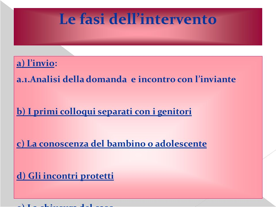 Le fasi dell'intervento