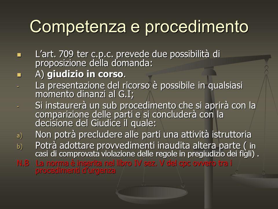 Competenza e procedimento