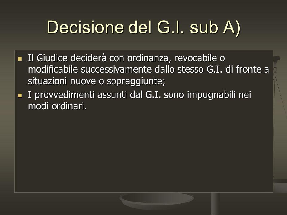 Decisione del G.I. sub A)
