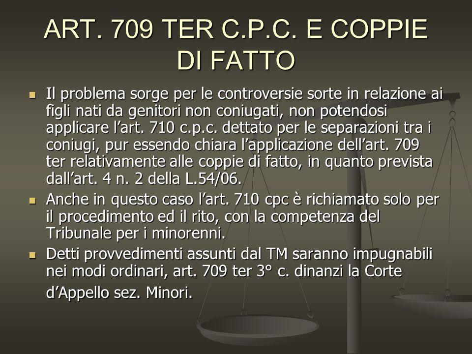 ART. 709 TER C.P.C. E COPPIE DI FATTO