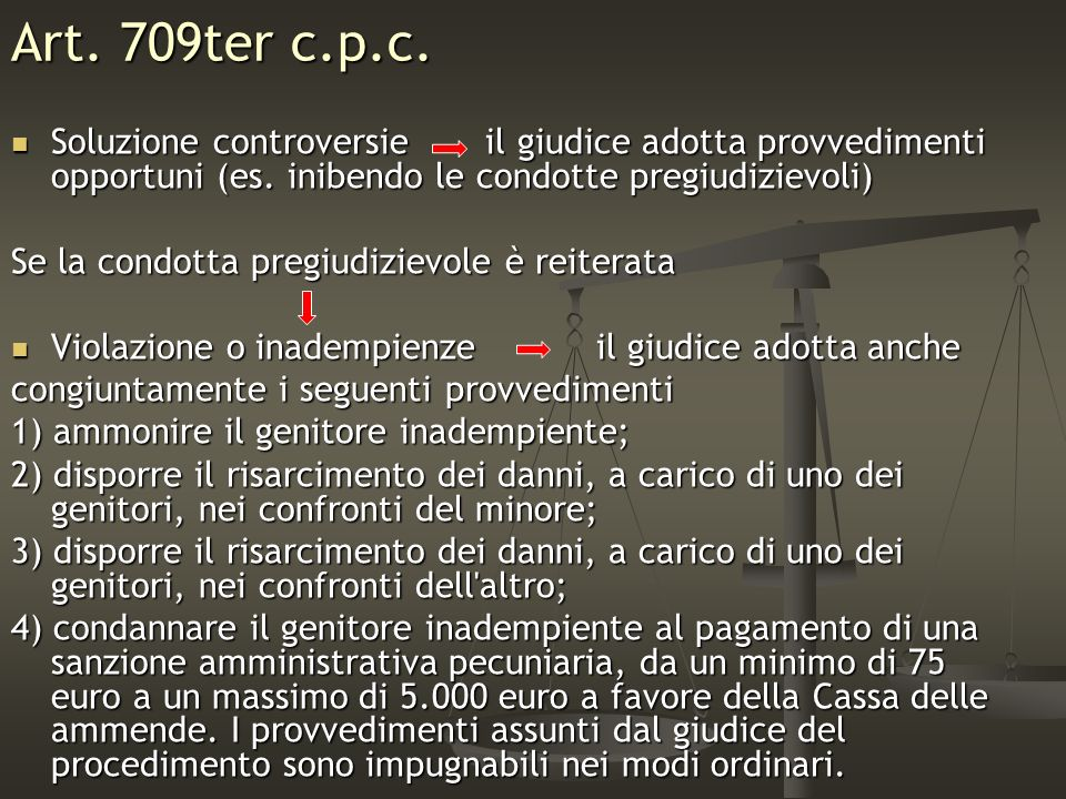 Art. 709ter c.p.c.Soluzione controversie il giudice adotta provvedimenti opportuni (es. inibendo le condotte pregiudizievoli)