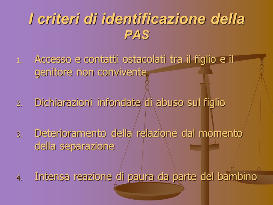 I criteri di identificazione della PAS