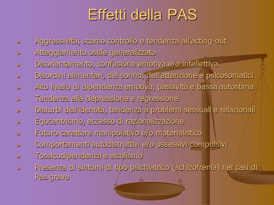 Effetti della PAS Aggressività; scarso controllo e tendenza all'acting-out. Atteggiamento ostile generalizzato.