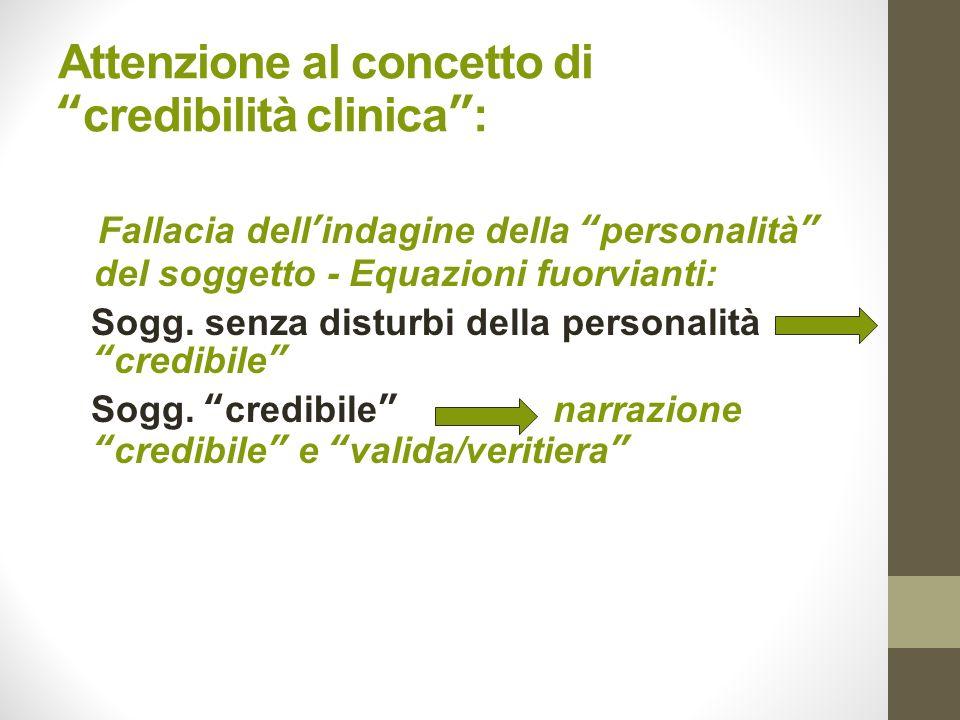 Attenzione al concetto di credibilità clinica :