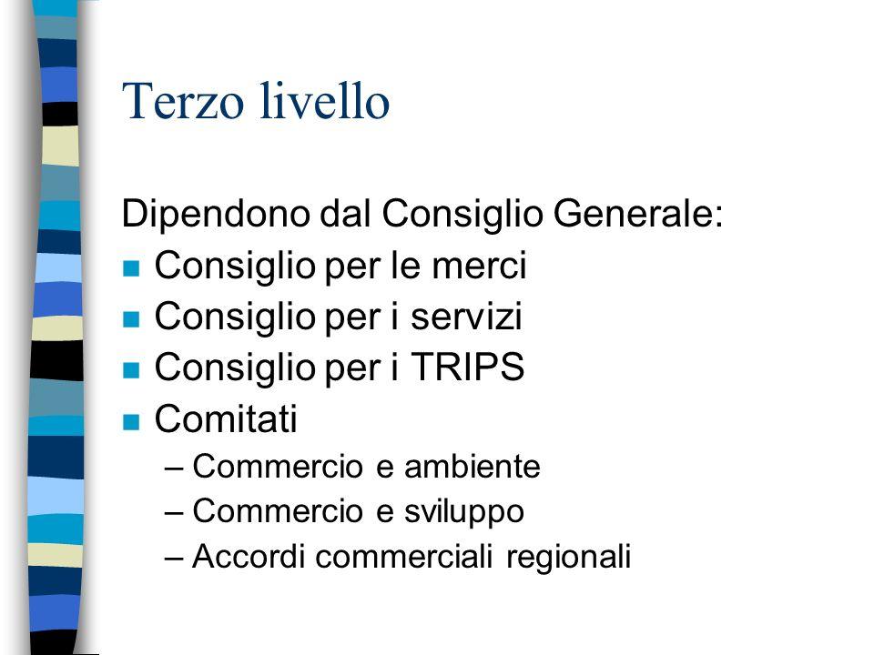 Terzo livello Dipendono dal Consiglio Generale: Consiglio per le merci