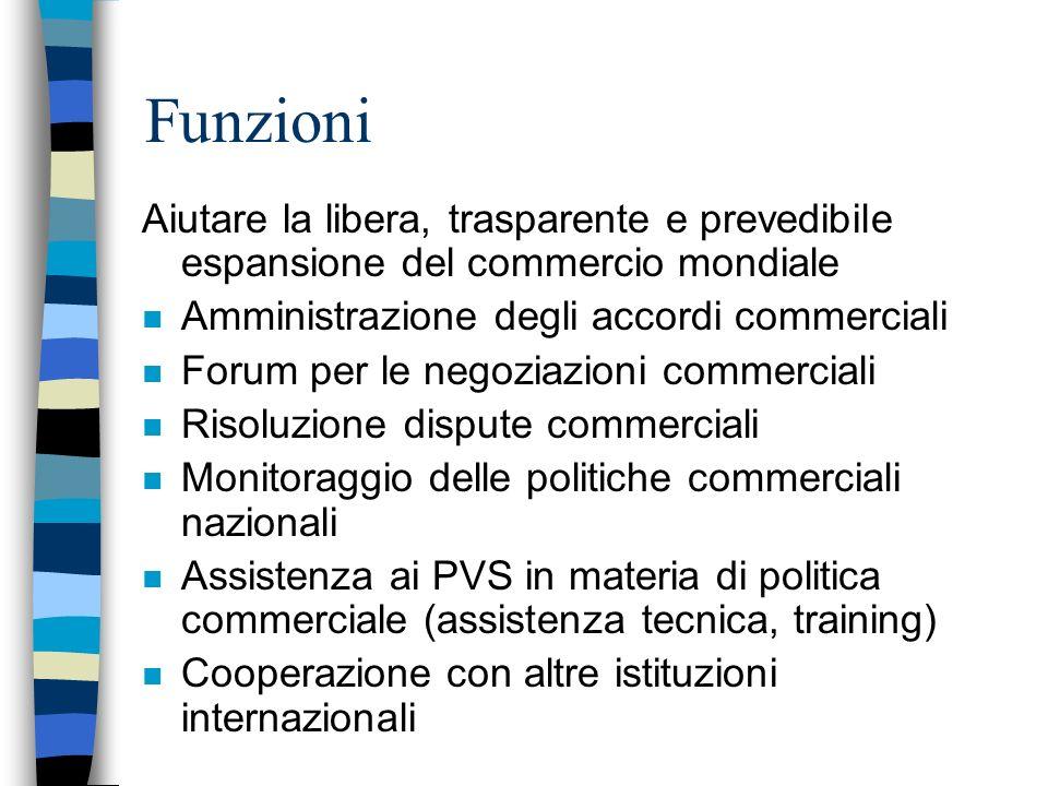 Funzioni Aiutare la libera, trasparente e prevedibile espansione del commercio mondiale. Amministrazione degli accordi commerciali.