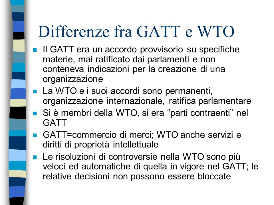Differenze fra GATT e WTO