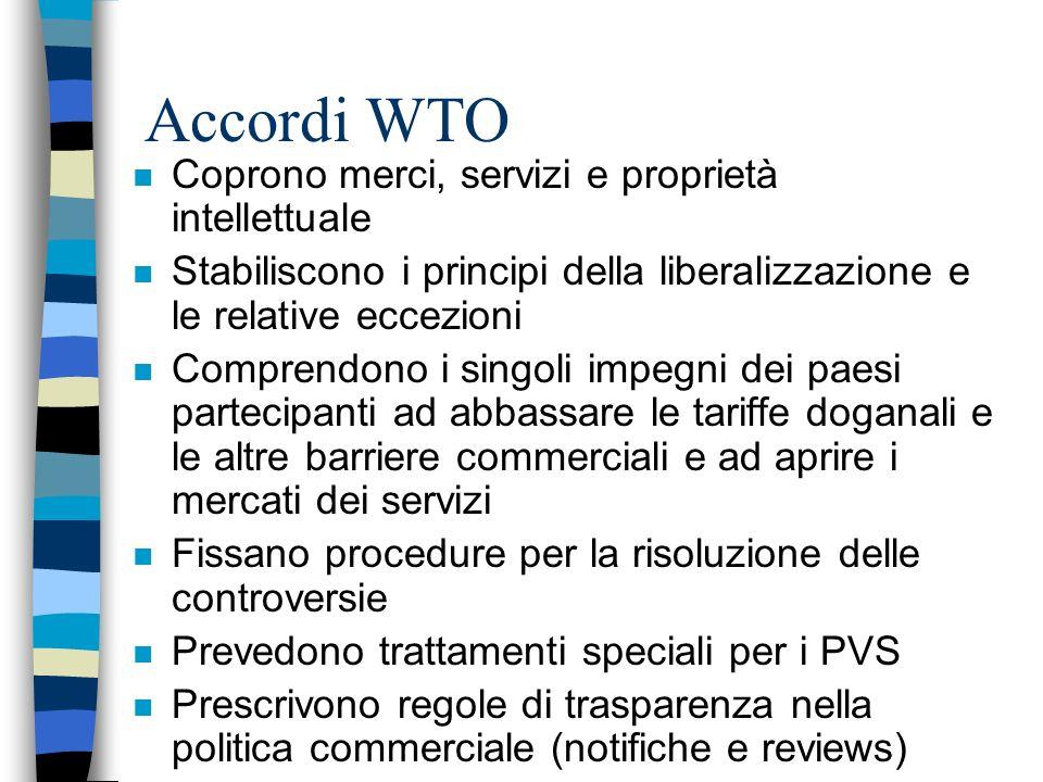 Accordi WTO Coprono merci, servizi e proprietà intellettuale