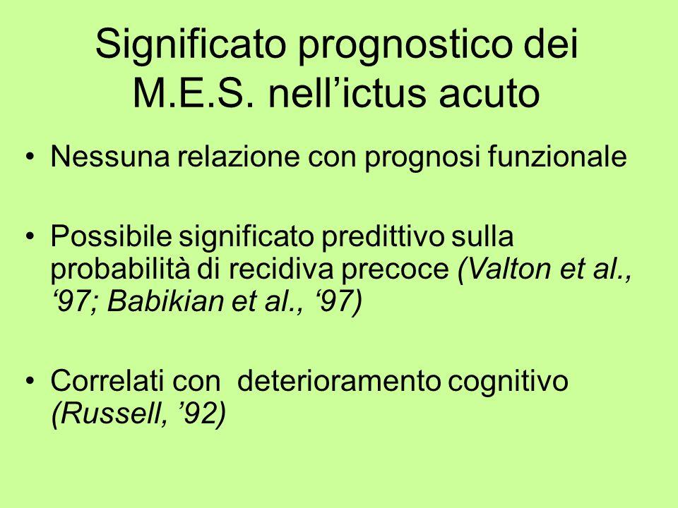 Significato prognostico dei M.E.S. nell'ictus acuto