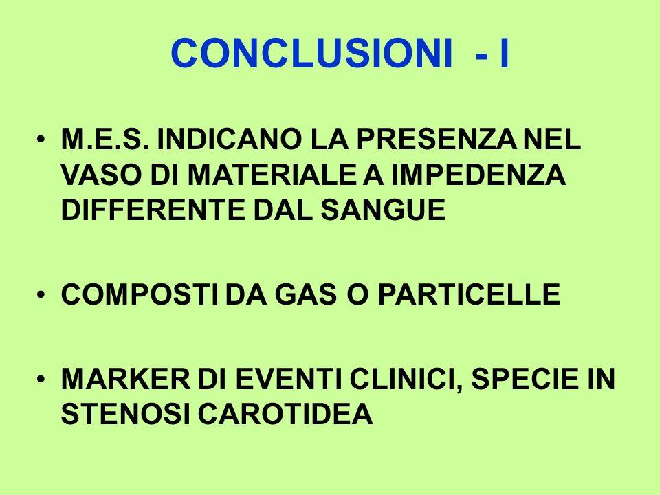 CONCLUSIONI - I M.E.S. INDICANO LA PRESENZA NEL VASO DI MATERIALE A IMPEDENZA DIFFERENTE DAL SANGUE.