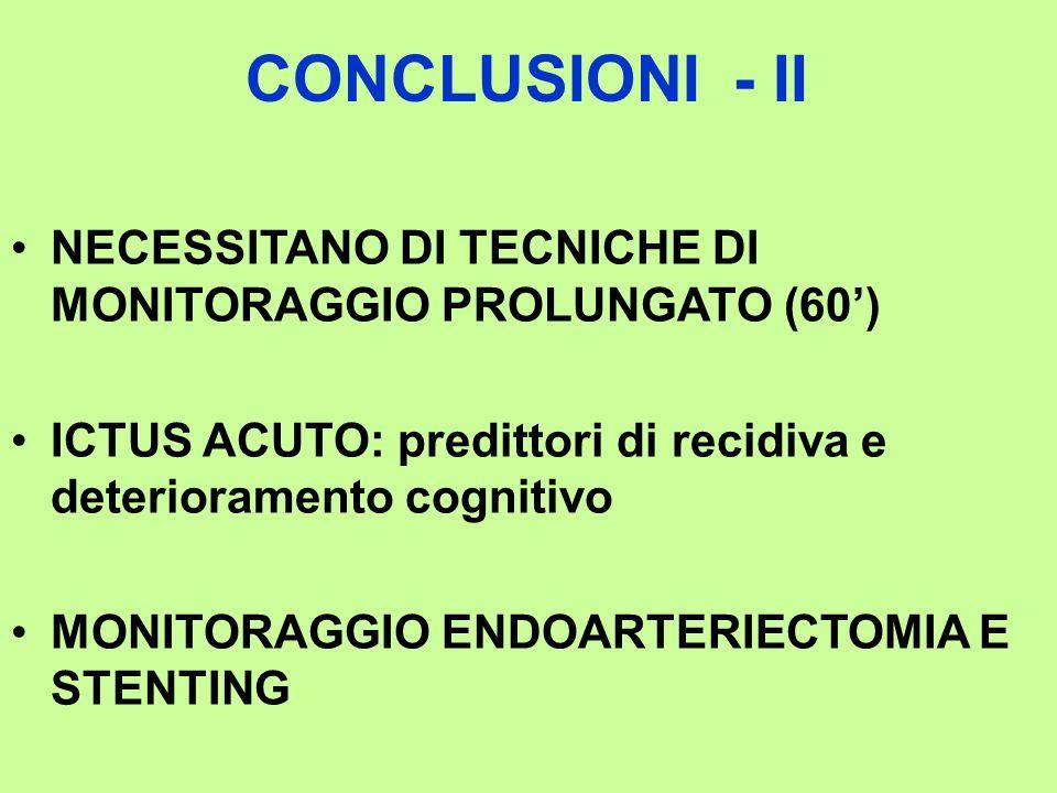 CONCLUSIONI - II NECESSITANO DI TECNICHE DI MONITORAGGIO PROLUNGATO (60') ICTUS ACUTO: predittori di recidiva e deterioramento cognitivo.