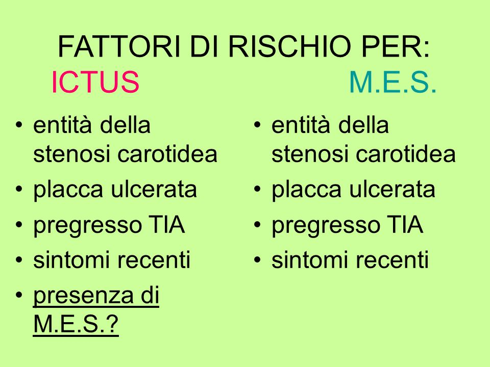 FATTORI DI RISCHIO PER: ICTUS M.E.S.