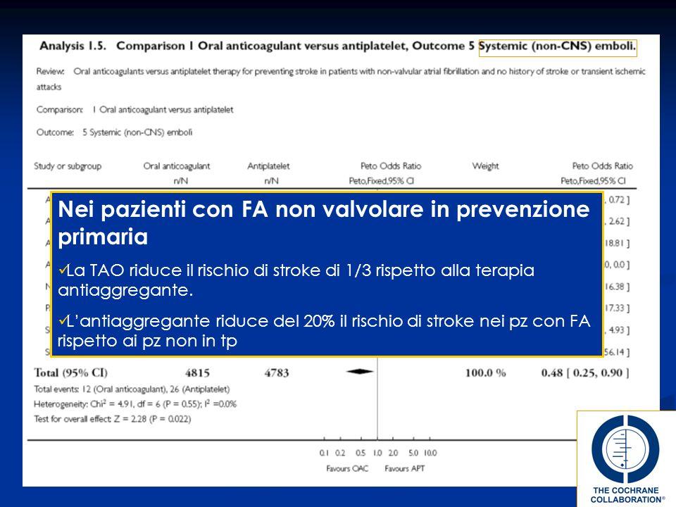 Nei pazienti con FA non valvolare in prevenzione primaria