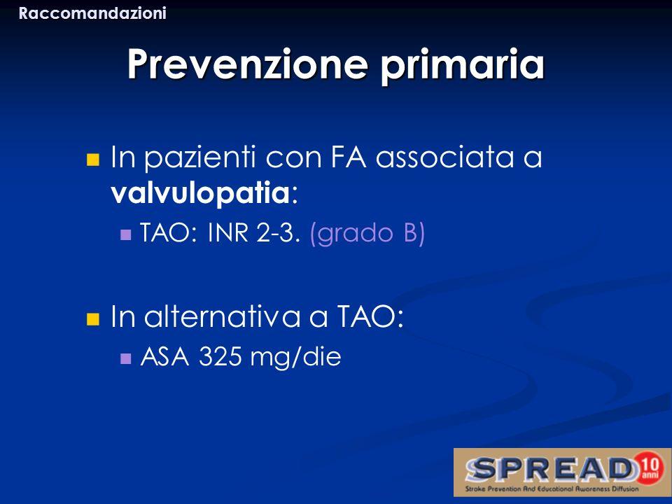 Prevenzione primaria In pazienti con FA associata a valvulopatia: