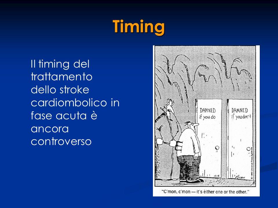 Timing Il timing del trattamento dello stroke cardiombolico in fase acuta è ancora controverso