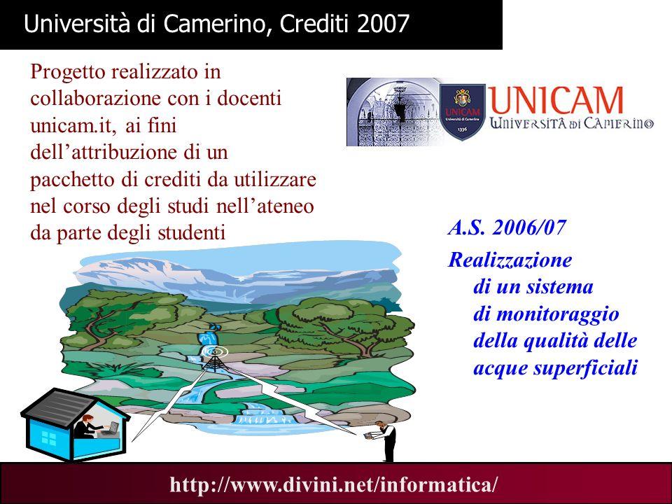 Università di Camerino, Crediti 2007