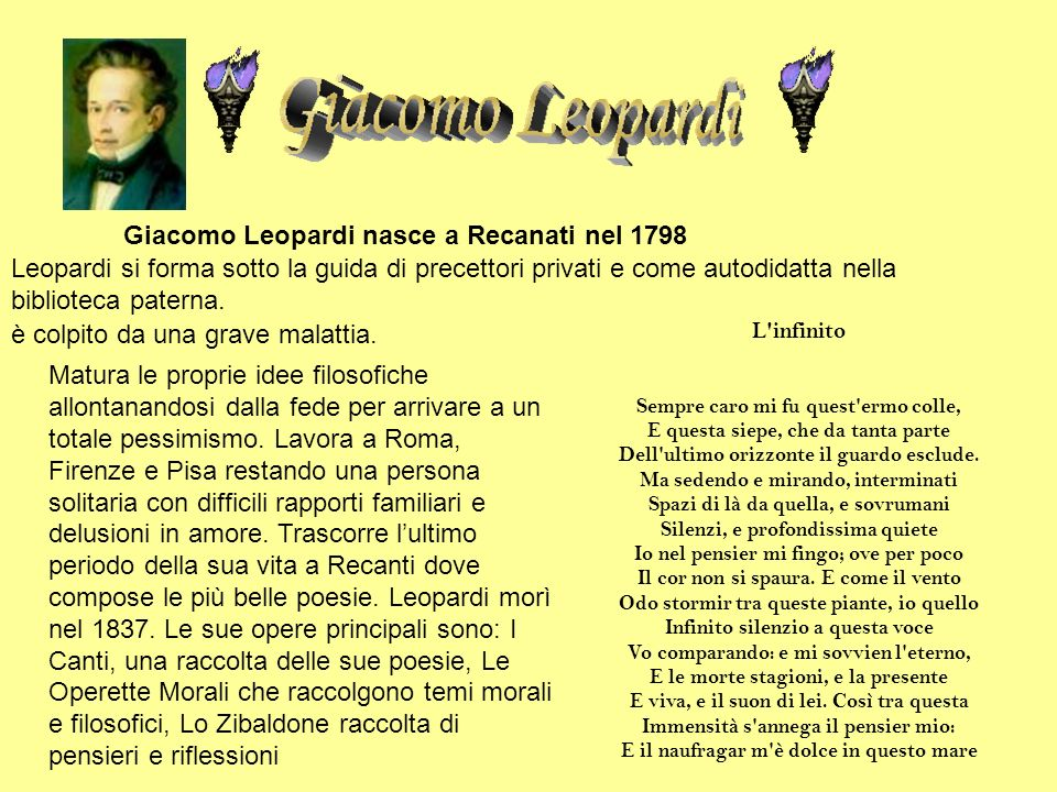 Giacomo Leopardi nasce a Recanati nel 1798