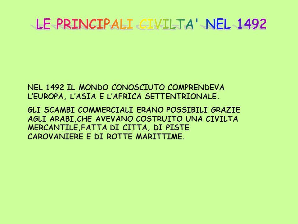 LE PRINCIPALI CIVILTA NEL 1492