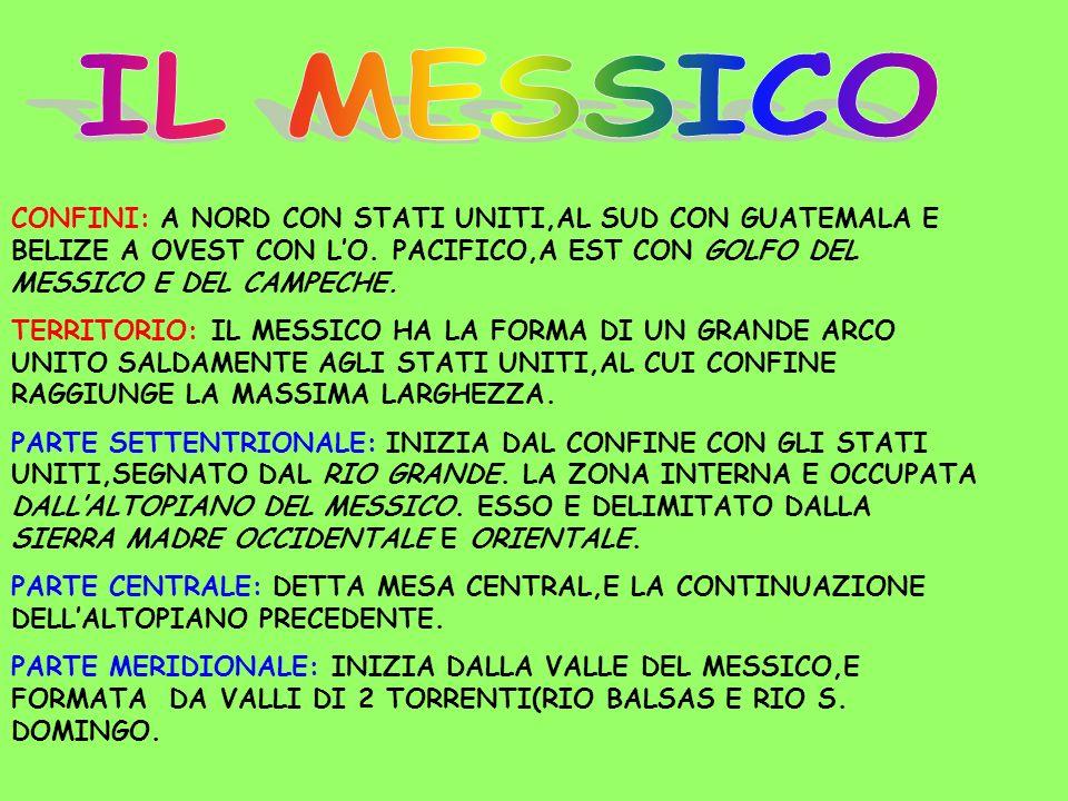 IL MESSICOCONFINI: A NORD CON STATI UNITI,AL SUD CON GUATEMALA E BELIZE A OVEST CON L'O. PACIFICO,A EST CON GOLFO DEL MESSICO E DEL CAMPECHE.
