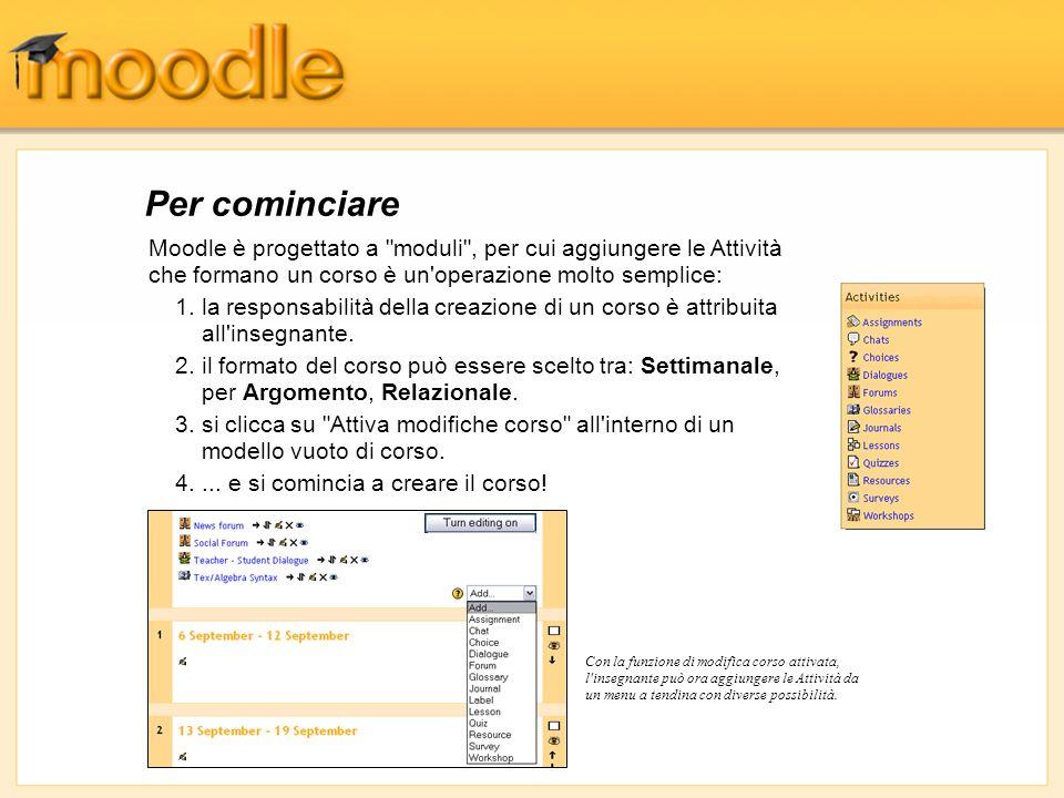 Per cominciareMoodle è progettato a moduli , per cui aggiungere le Attività che formano un corso è un operazione molto semplice:
