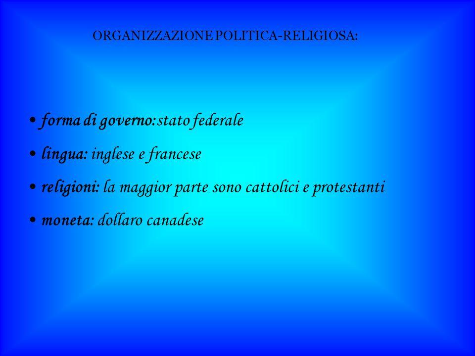 forma di governo:stato federale lingua: inglese e francese